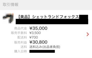 シェットランドフォックスを3万5000円で売却