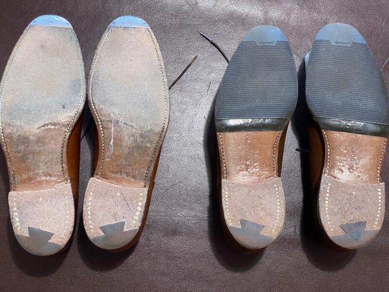 ハーフラバーを貼っている靴と貼っていない靴