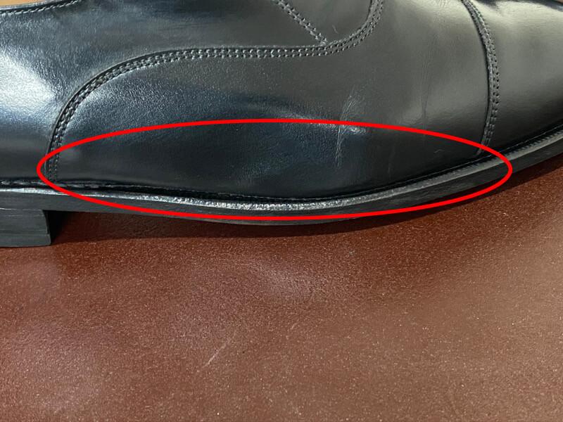 革靴の側面、鏡面磨きをする部分