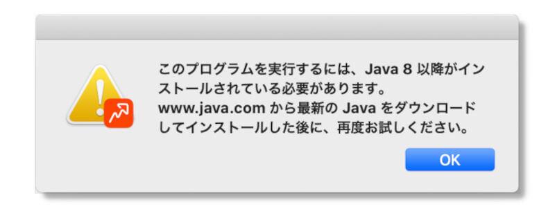 JAVAのインストールメッセージ