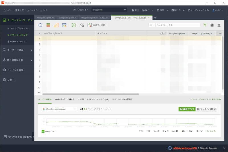 Rank Trackerのワークスペース機能