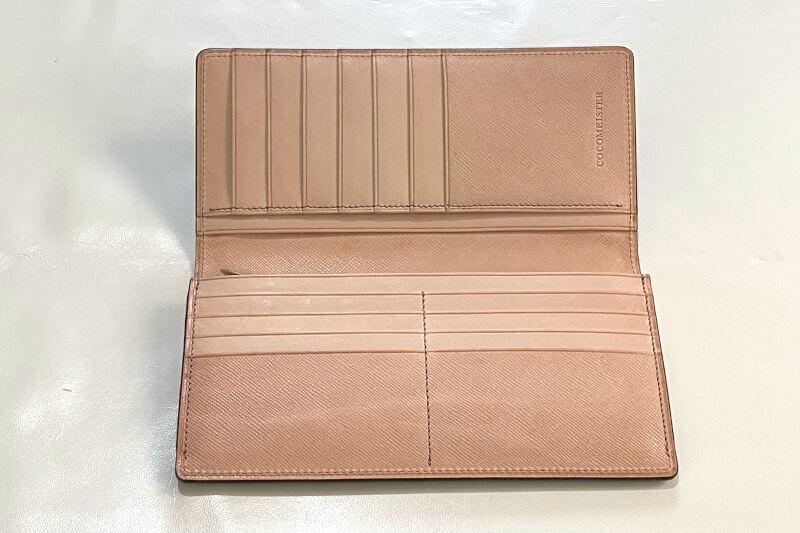 ココマイスター ヨコハマ クラシカル長財布の内装