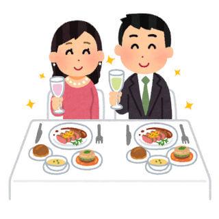 横並びで食事するカップル